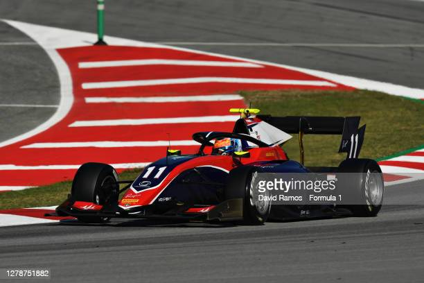 Clement Novalak of Great Britain and Trident drives during Day Two of Formula 3 Testing at Circuit de Barcelona-Catalunya on October 06, 2020 in...