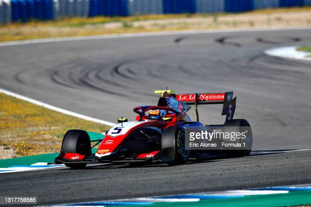 Clement Novalak of Great Britain and Trident drives during day two of Formula 3 Testing at Circuito de Jerez on May 13, 2021 in Jerez de la Frontera,...