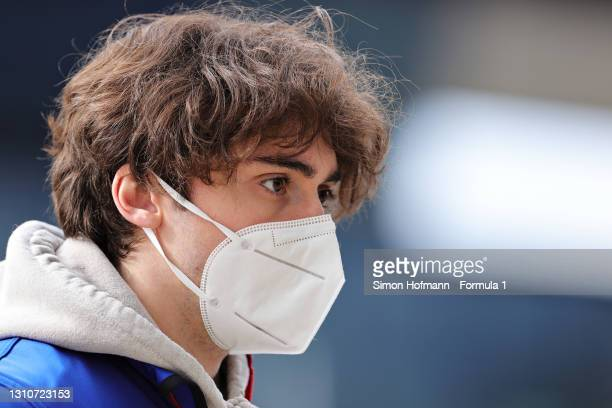 Clement Novalak of Great Britain and Trident looks on during Day Two of Formula 3 Testing at Red Bull Ring on April 04, 2021 in Spielberg, Austria.