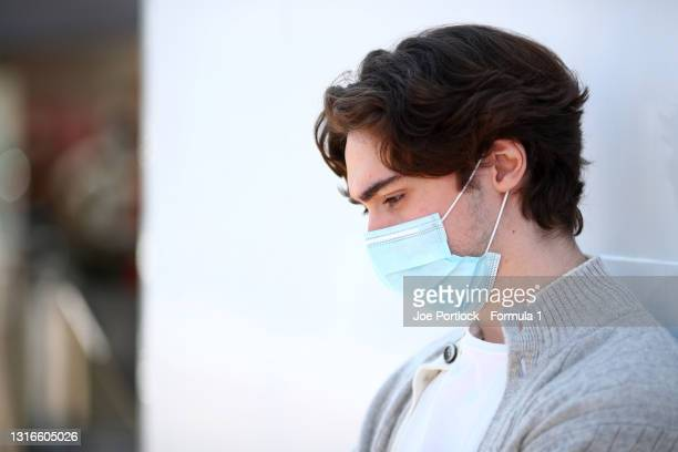 Clement Novalak of Great Britain and Trident looks on in the Paddock during previews ahead of Round 1:Barcelona of the Formula 3 Championship at...