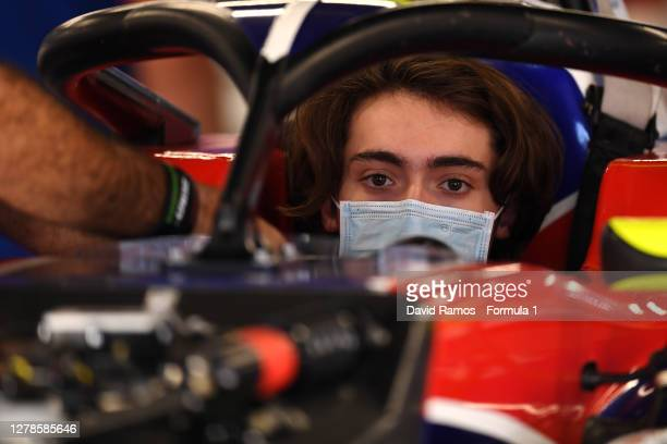 Clement Novalak of Great Britain and Trident looks on in the pit during Day One of the Formula 3 Testing session at Circuit de Barcelona-Catalunya on...