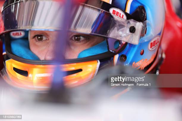 Clement Novalak of Great Britain and Trident prepares to drive during Day One of Formula 3 Testing at Red Bull Ring on April 03, 2021 in Spielberg,...