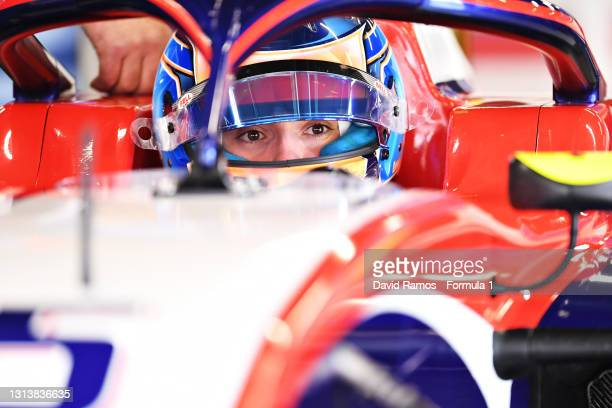 Clement Novalak of Great Britain and Trident prepares to drive during Day Two of Formula 3 Testing at Circuit de Barcelona-Catalunya on April 22,...