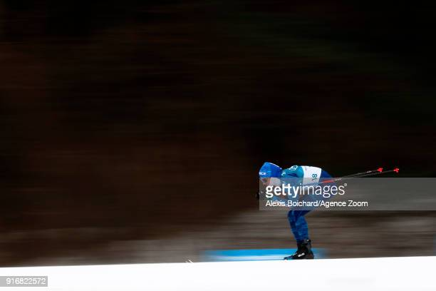 Clement Parisse of France competes during the CrossCountry Men's Skiathlon at Alpensia CrossCountry Centre on February 11 2018 in Pyeongchanggun...