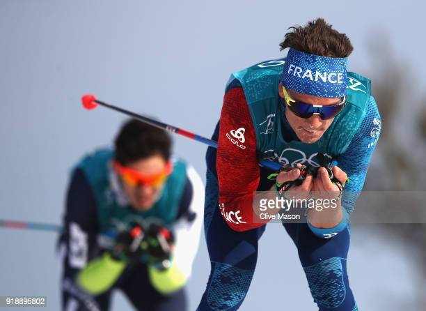 Clement Parisse of France competes during the CrossCountry Skiing Men's 15km Free at Alpensia CrossCountry Centre on February 16 2018 in...