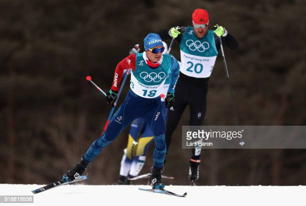 Clement Parisse of France competes during the Men's 15km and 15km Skiathlon CrossCountry Skiing on day two of the PyeongChang 2018 Winter Olympic...