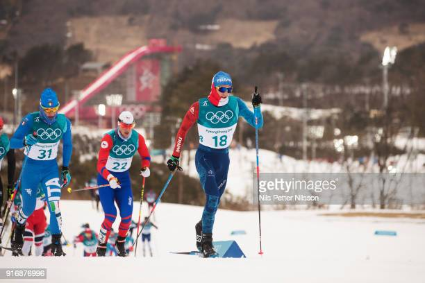 Clement Parisse of France during the Mens Skiathlon 15km15km CrossCountry Skiing on day two of the PyeongChang 2018 Winter Olympic Games at Alpensia...