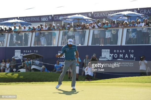 Clement Sordet of France celebrates victory on the 18th green during the final round of the NBO Golf Classic Grand Final at Al Mouj Golf on November...