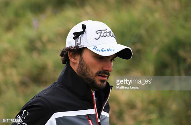 Clement Sordet of France displays tributes to the victims of the recent Nice attack on his cap during the second round on day two of the 145th Open...