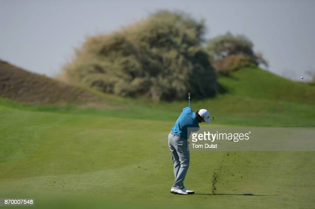 Clement Sordet of France hits an approach shot during the final round of the NBO Golf Classic Grand Final at Al Mouj Golf on November 4 2017 in...