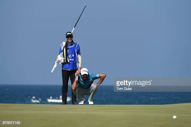 Clement Sordet of France lines up a putt on the 11th green during the final round of the NBO Golf Classic Grand Final at Al Mouj Golf on November 4...