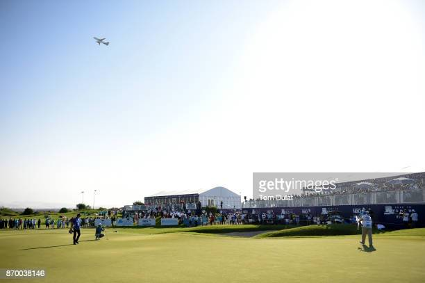 Clement Sordet of France lines up a putt on the 18th green during the final round of the NBO Golf Classic Grand Final at Al Mouj Golf on November 4...