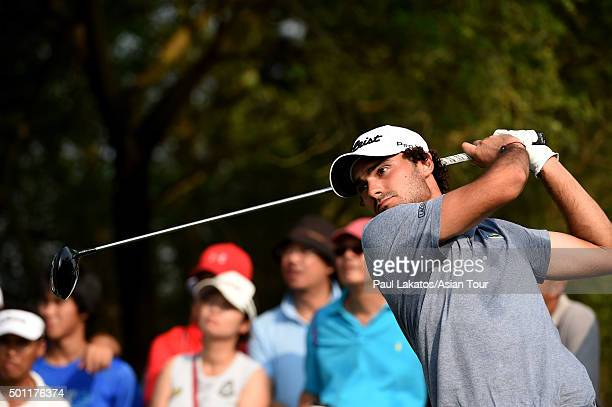 Clement Sordet of France plays a shot during round four of the Thailand Golf Championship at Amata Spring Country Club on December 13 2015 in Chon...