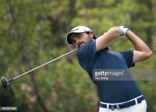 Clement Sordet of France plays a shot during the four day of the 2018 Volvo China open at Beijing Huairou Topwin Golf and Country Club on April 29...
