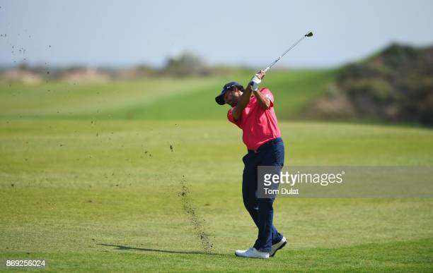 Clement Sordet of France plays a shot on the 4th hole on Day Two of the NBO Golf Classic Grand Final European Challenge Tour at Al Mouj Golf on...