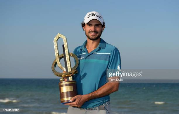 Clement Sordet of France poses with the Grand Final Trophy during Day Four of the NBO Golf Classic Grand Final European Challenge Tour at Al Mouj...