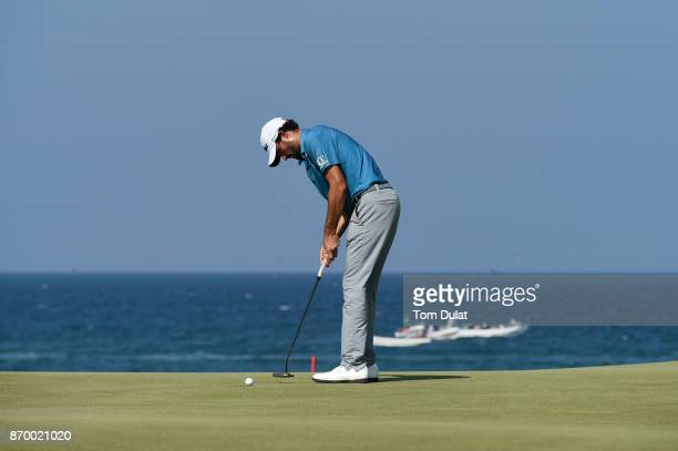 Clement Sordet of France putts on the 11th green during the final round of the NBO Golf Classic Grand Final at Al Mouj Golf on November 4 2017 in...