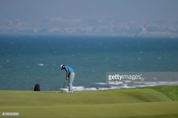 Clement Sordet of France putts on the 12th green during the final round of the NBO Golf Classic Grand Final at Al Mouj Golf on November 4 2017 in...