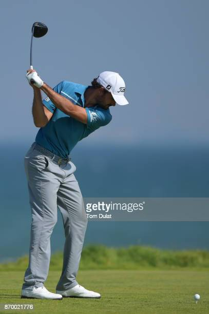 Clement Sordet of France tees off on the 12th hole during the final round of the NBO Golf Classic Grand Final at Al Mouj Golf on November 4 2017 in...