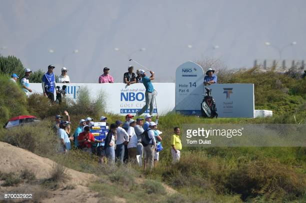 Clement Sordet of France tees off on the 14th hole during the final round of the NBO Golf Classic Grand Final at Al Mouj Golf on November 4 2017 in...