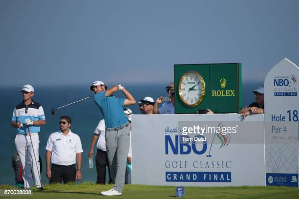 Clement Sordet of France tees off on the 18th hole during the final round of the NBO Golf Classic Grand Final at Al Mouj Golf on November 4 2017 in...