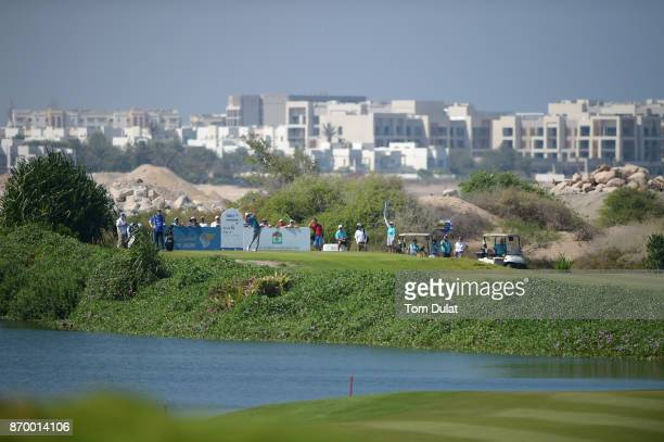 Clement Sordet of France tees off on the 6th hole during the final round of the NBO Golf Classic Grand Final at Al Mouj Golf on November 4 2017 in...