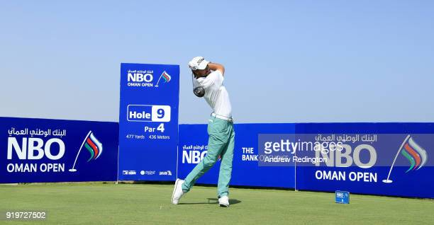 Clement Sordet of France tees off on the par four 9th hole during the final round of the NBO Oman Open at Al Mouj Golf on February 18 2018 in Muscat...