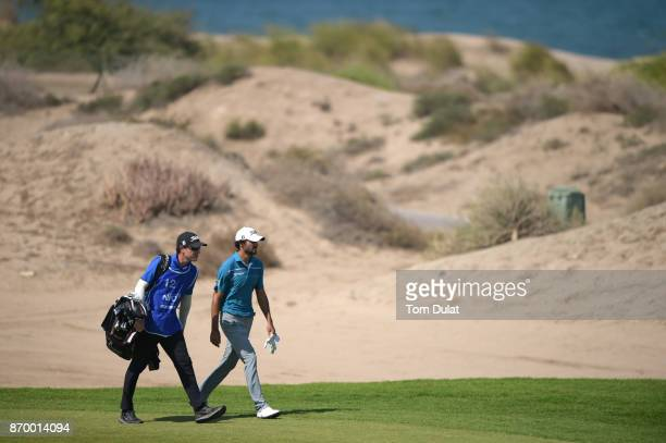 Clement Sordet of France walks down the 6th hole during the final round of the NBO Golf Classic Grand Final at Al Mouj Golf on November 4 2017 in...