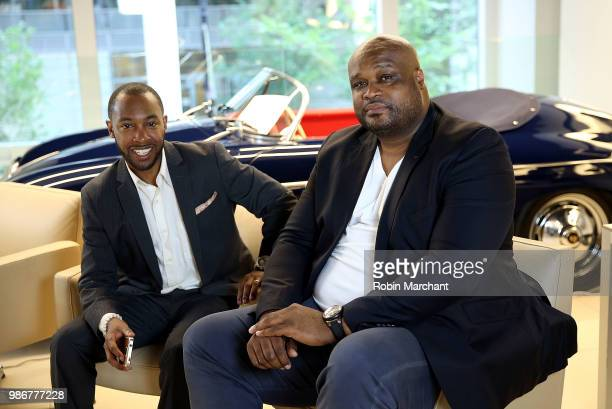 Clement Townsend and Antoine Walker attend Suite Life Welcome The BIG 3 NBA Veterans To Chicago at Perillo Rolls Royce on June 28 2018 in Chicago...