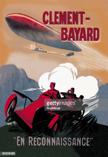 ClementBayard French Dirigible Speeds against a Car both trailaing a train of exhaust meant to show speed