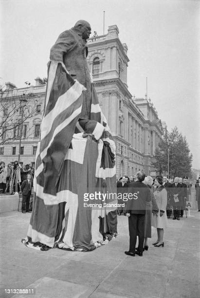 Clementine, Baroness Spencer-Churchill and her grandson Winston Churchill attend the unveiling of a statue of her late husband, wartime British Prime...
