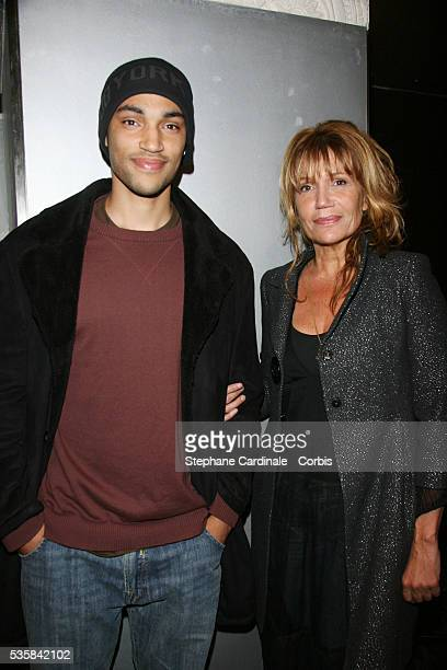 Clementine Celarie with his son Abraham Diallo attend the premiere of 'Tropiques amers' in Paris