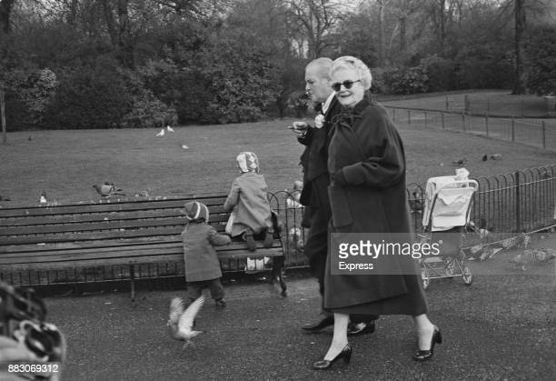 Clementine Churchill and her son Randolph walking in a park in London UK 23rd November 1960