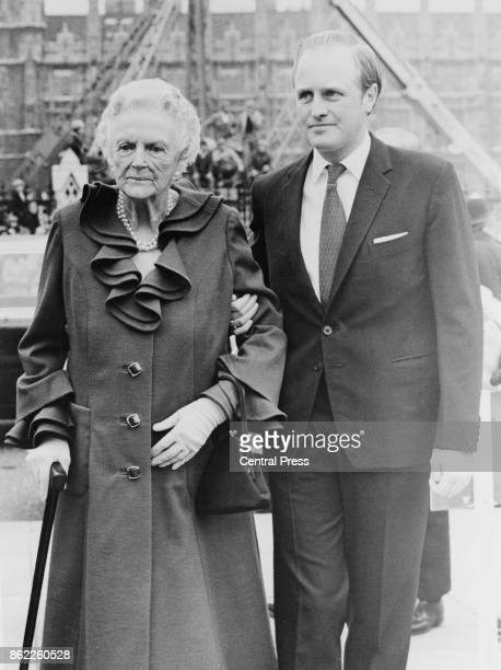 Clementine Churchill Baroness SpencerChurchill the widow of Sir Winston Churchill arrives at Parliament Square in London with her grandson Winston...