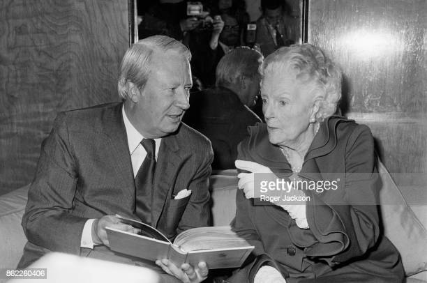 Clementine Churchill Baroness SpencerChurchill the widow of Sir Winston Churchill chats with British Prime Minister Edward Heath during a luncheon at...