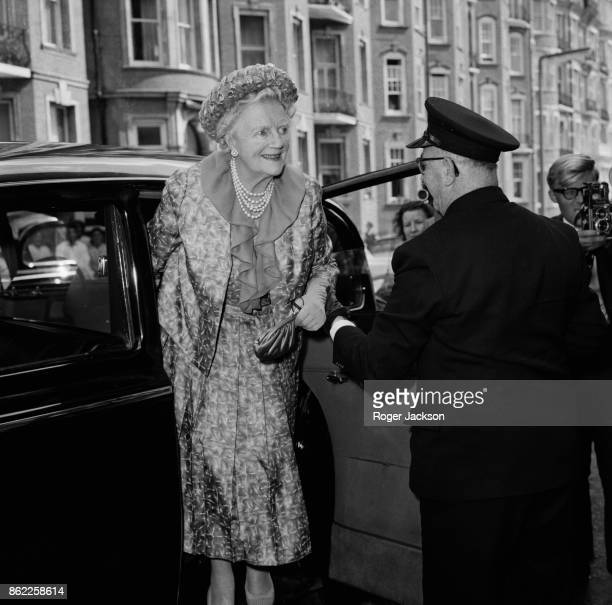 Clementine Churchill Baroness SpencerChurchill the wife of Sir Winston Churchill arrives at Kensington Register Office in London for the wedding of...