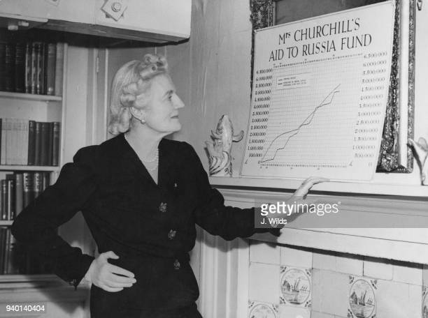 Clementine Churchill the wife of British Prime Minister Winston Churchill consults a chart of contributions to her appeal on behalf of the Red Cross...