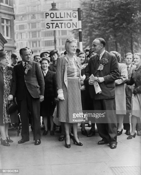 Clementine Churchill the wife of British Prime Minister Winston Churchill arrives at the polling station at Caxton Hall in London during the general...