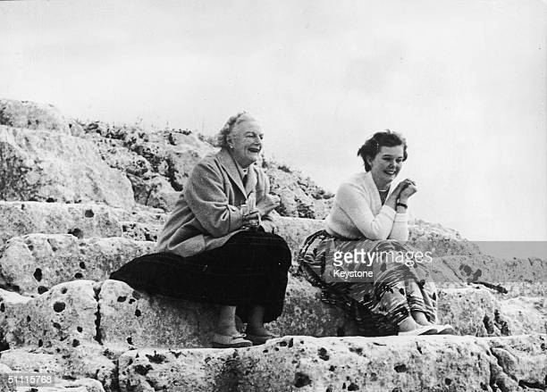 Clementine Churchill wife of former Prime Minister Winston Churchill with her secretary at an ancient Greek theatre in Syracuse 21st April 1955