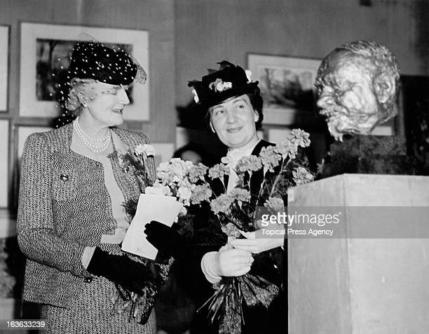 Clementine Churchill with Mrs Ivan Maisky wife of the Soviet Ambassador to Britain at the Artists Aid To Russia Exhibition at Hertford House London...