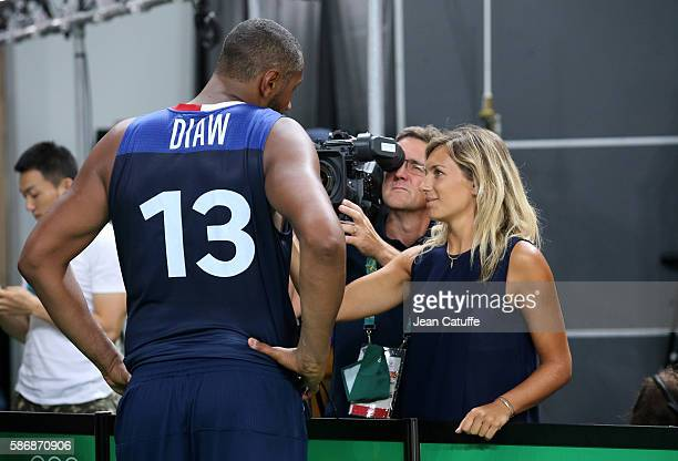 Clementine Sarlat of France Televisions interviews Boris Diaw of France following the group phase basketball match between France and Australia on...