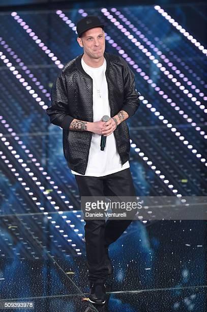 Clementino attends second night of the 66th Festival di Sanremo 2016 at Teatro Ariston on February 10 2016 in Sanremo Italy