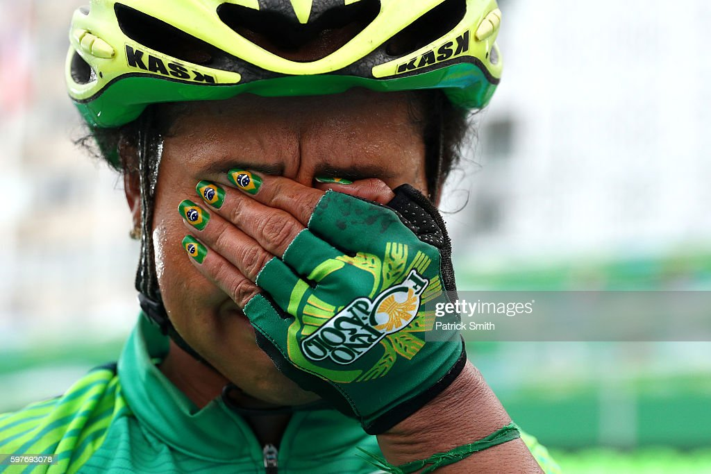 Clemilda Fernandes Silva of Brazil cries after finishing the Women's Road Race on Day 2 of the Rio 2016 Olympic Games at Fort Copacabana on August 7, 2016 in Rio de Janeiro, Brazil.