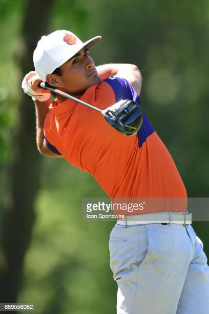 Clemson Bryson Nimmer tees off at the 12th hole during the NCAA Division I Men's Golf Championship on May 28 at Rich Harvest Farms in Sugar Grove...