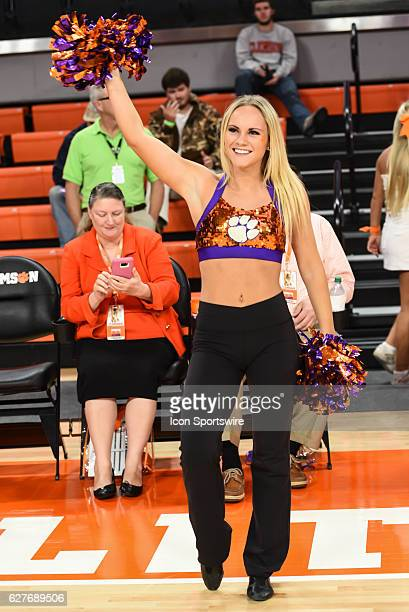 Clemson cheerleader during 1st half action between the Clemson Tigers and Coppin St Eagles on December 04 2016 at Littlejohn Coliseum in Clemson SC