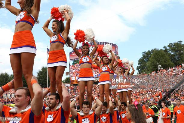 Clemson cheerleaders during a college football game between Florida State Seminoles and the Clemson Tigers on October 12 at Clemson Memorial Stadium...