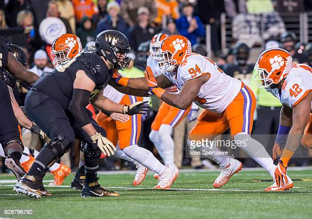 Clemson defensive end Carlos Watkins defends during the Clemson Tigers win over the Wake Forest Demon Deacons on November 19 2016 at BBT Field in...