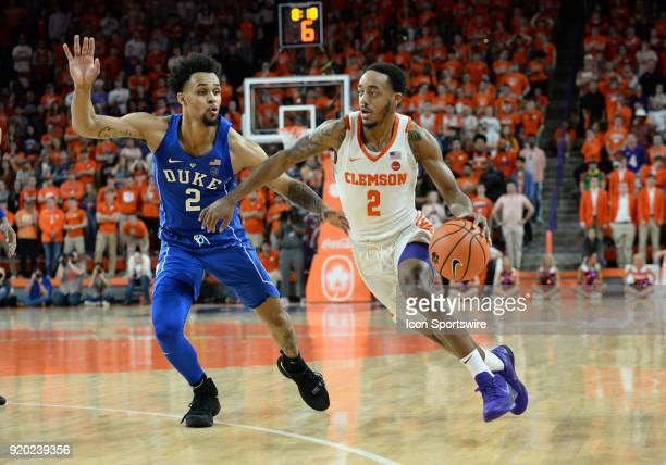 Clemson guard Marcquise Reed drives past Duke guard Gary Trent during 2nd half action between the Clemson Tigers and the Duke Blue Devils on February...