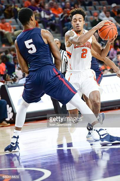 Clemson guard Marcquise Reed tries to get by South Carolina State's Ozante Fields during 2nd half action between the Clemson Tigers and the South...