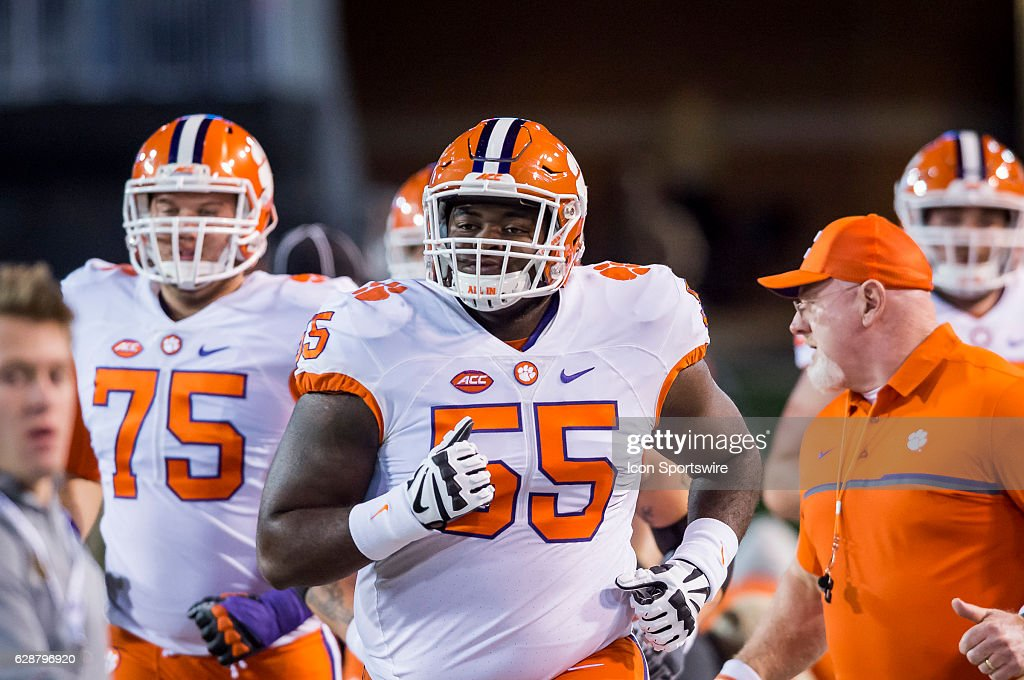 Clemson guard Tyrone Crowder (55) races onto the field during the Clemson Tigers win over the Wake Forest Demon Deacons on November 19, 2016 at BB&T Field in Winston-Salem, NC.
